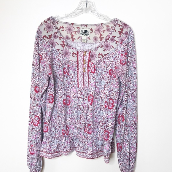 Lucky Tops - Boho Floral Shirt - Lucky-size M